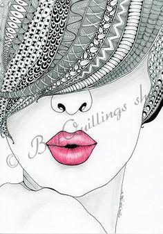 "Original Zentangle Art ""Kiss Me"" Print A4/A3 size by BestQuillings on Etsy https://www.etsy.com/listing/206275854/original-zentangle-art-kiss-me-print"