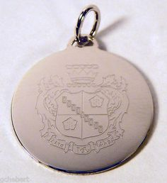 Zeta Tau Alpha Silver Crest Engraved Charm available in Good Things From Louisiana, an ebay store.