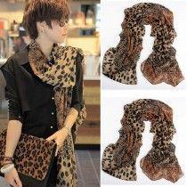 Womens Ladies Leopard Print Chiffon Shawl Scarf Wrap Stole Spring Neck