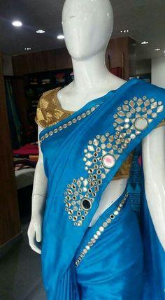 mirror work at pallu