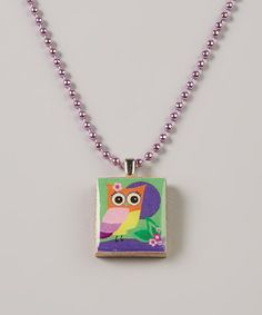 Take a look at this Purple & Green Owl & Moon Scrabble Tile Necklace on zulily today!