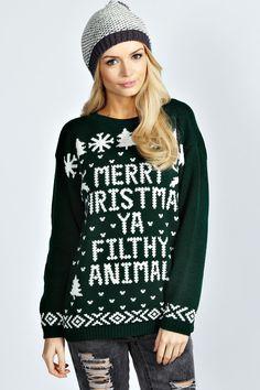 Hiba Merry Christmas Ya Filthy Animal Jumper