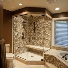 Modern Master Bathroom, Master Shower, Modern Bathrooms, Small Bathrooms, Master Baths, Master Bathrooms, Huge Shower, Tuscan Bathroom, Double Shower