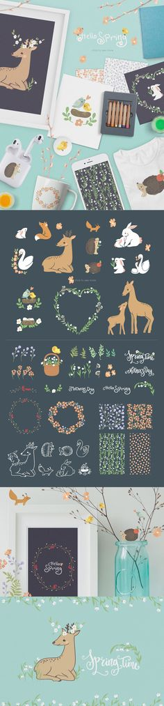 #Freebies : Spring Collection is cute #animals, birds and flowers. Сan be used in children's project, #design #birthday, paper products, #party decorations, #printable, invitations, #greetings cards, posters, #websites, #blogs, wrapping paper and much more. ( #vector #cartoon #illustrations #design )