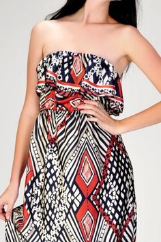 Tribal Print Satin Maxi Dress