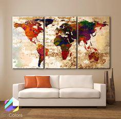 LARGE 30x 60 3 Panels Art Canvas Print Watercolor by BoxColors