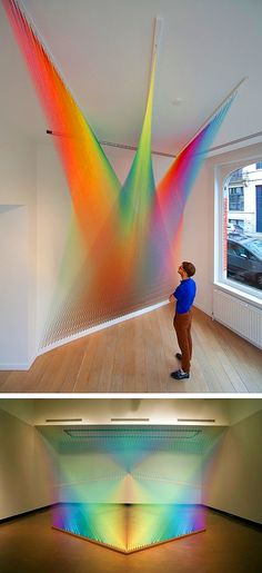 Mexican artist Gabriel Dawe makes all kinds of wondrous things with basic textiles. His ongoing series, Plexus, is a collection of unique, complex structures that form intricate patterns of color with sewing thread.