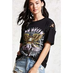 Forever21 Van Halen Graphic Band Tee ($20) ❤ liked on Polyvore featuring tops, t-shirts, crew neck tee, cotton t shirts, graphic t shirts, short sleeve crew neck t shirt and eagles t shirts