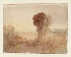 Joseph Mallord William Turner 'Landscape, with Trees and Distant City', c.1820