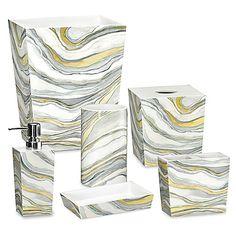 My choice for master bath (Rummel Sand Stone). Wooden wastebasket and tissue holder; rest resin