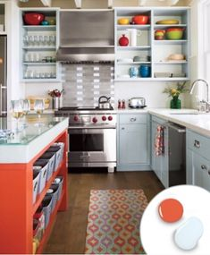 Check out these fall kitchen color combination to get in the spirit of the new season! We love the creativity of rustic browns and orange colored cabinets. Kitchen Cabinets Color Combination, Two Tone Kitchen Cabinets, Yellow Cabinets, Kitchen Colour Schemes, Kitchen Cabinet Colors, Kitchen Colors, Colored Cabinets, Color Schemes, Kitchen Shelves