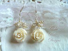 Ethereal Rose Earrings by freshwaterperle on Etsy, $20.00