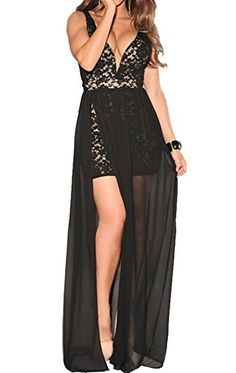 cool made2envy Sexy Lace Overlay Plunging Neck Open Back, Side Slit Evening Gown (L, Black) -Sexy evening gown with mini main skirt, lace overlay Chiffon floor length covering with side slit Open back and VERY deep plunging front opening -http://weddingdressesusa.com/product/made2envy-sexy-lace-overlay-plunging-neck-open-back-side-slit-evening-gown-l-black/