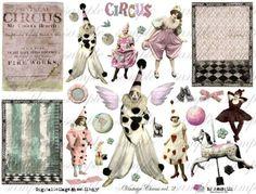 NEW   ViNtAgE CiRcUs voL 2  Digital Collage Sheet no by Itkupilli