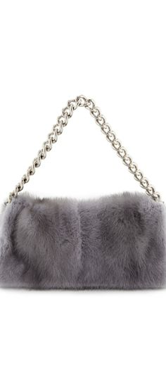 Alexander McQueen Folded Fur Clutch Bag, Gray