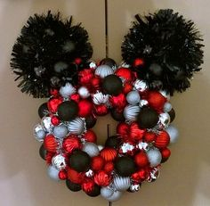This beautiful Christmas Mickey Mouse Ornament Wreath will accent any room, fireplace, mantle or door! Mickey Mouse Ornaments, Mickey Mouse Wreath, Disney Wreath, Disney Ornaments, Mickey Ears, Minnie Mouse, Mickey Christmas, Christmas Fun, Scandinavian Christmas