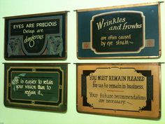 hand painted signs in Mary Mashburn's studio by The Arm