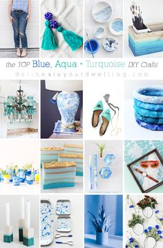Stunningly gorgeous Blue, Aqua and Turquoise DIY crafts! Including jeans, posts, candles and shoes. a little bit of everything! Delineate Your Dwelling - Tap the Link Now: Providing Unique Jewelry For Unique People. Pink Crafts, Color Crafts, Creative Crafts, Easy Crafts, Diy And Crafts, Diy Craft Projects, Craft Tutorials, Craft Ideas, Shibori