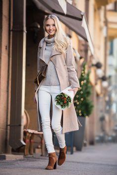 Filippa K Coat -  Sand Knit -  Zara Jeans & Boots -  Saint Laurent Bag -  Dolce & Gabbana Sunglasses | Metti Forssell
