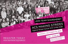 Its not too late to join us on Sunday morning October 16th from 8 -10 am! Order your new neon green shirts today and register to walk with Team Sharsheret in the ACS Making Strides Against Breast Cancer 5 mile walk. Thank you to all of our corporate sponsors and event underwriter Bernstein Liebhard LLP and team benefactors Macrogenics and Tesaro.  We can't wait to see you there! http://ift.tt/1PoqMfQ