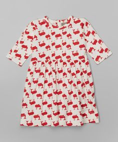 White & Red Whale Ruby Organic Dress - Infant, Toddler & Girls