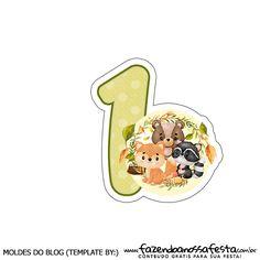 Numero 1 Topo de bolo Bosque Encantado totalmente grátis, pronto para personalizar e imprimir em casa. Forest Theme, Woodland Theme, Woodland Party, Baby Tiara, Baby Animal Drawings, Baby Month Stickers, Diy Cake Topper, Diy Gift Box, Safari Party