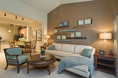 """Love the couch / color and piping / """"L"""" couch with cream and brown"""