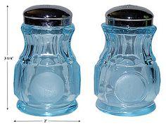 Rare Salt And Pepper Shakers | Fostoria Coin Blue Vintage Salt and Pepper Shakers | eBay