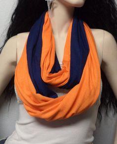 Orange  & Navy Blue  Infinity Scarf  Soft by GypsysWildHeartShop