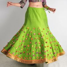 Lime Green Gota Ghaghra