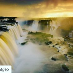wanna visit this place someday #Repost @natgeo with @repostapp  Photo by @michaelmelford at Iguazu Falls Brazil. On assignment for  Nat Geo Natural Wonders of the World jet tour I only had one day at Iguazu Falls. It was raining in the afternoon but it looked like it there might be a small hole in the clouds at sunset. Went out in the rain and waited and was rewarded with about two minutes of magic light. Was only on the Brazil side which is about 20% of the falls with Argentina having the…