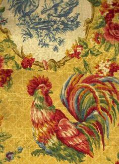 Vintage Tapestry Handmade Window Valance Chickens Hens Farmhouse Country Tassel