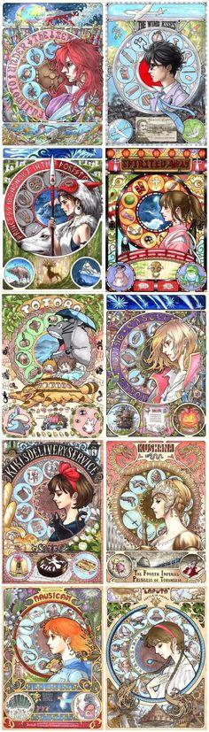 Stunning Art Nouveau Fan Art Is Fitting Tribute The Work of Miyazaki and Mucha Anime Yugioh, Anime Pokemon, Totoro, Anime Plus, Anime W, Studio Ghibli Art, Studio Ghibli Movies, Studio Ghibli Tattoo, Studio Ghibli Characters