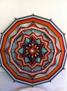 Spirit of India, Yarn Mandala / Ojo de Dios, by RusaLena. $160,00, via Etsy. Beautiful pattern, maybe create similar pattern with separate pieces for pillows