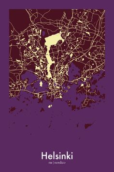 Map of Helsinki, Finland. The highlighted areas are public parks. Helsinki Central Park is 10 km long!