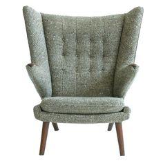 Stunning tweed fabric. Papa Bear Chair: by Hans Wegner, circa 1965