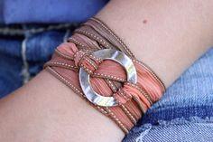 Cool silk ribbon wrap bracelet #jewelry #boho