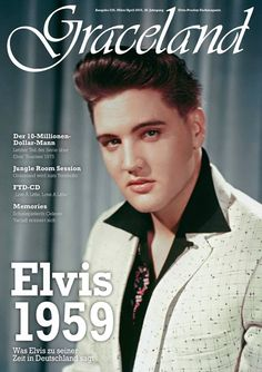 Elvis Presley in a publicity photo from May 1959 (photo shoot for RCA held in Frankfurt, Germany) is pictured on the cover of German Elvis magazine GRACELAND, issue 228, March/ April 2016. GRACELAND is published by the EPG (= Elvis-Presley-Gesellschaft e.V.) which is the biggest German speaking Elvis fan club worldwide. Take a look at all 38 years of GRACELAND magazine covers: http://www.epg-ev.de/Graceland_Magazin_FAN.html