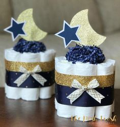 The Posh Toosh Specialty Diaper Cakes make perfect baby shower centerpieces and décor, baby shower gifts, nursery décor, and a unique and practical gift for a mommy-to-be! SET OF 3 Single Tier Mini- Gold Lace Twinkle Twinkle Little Star Burlap Diaper Cake Space Baby Shower, Boy Baby Shower Themes, Baby Shower Parties, Baby Boy Shower, Baby Shower Gifts, Shower Party, Navy Baby Showers, Star Baby Showers, Twinkle Twinkle Little Star