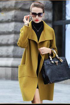 Pure Color Loose Thin Pocket Long Coat