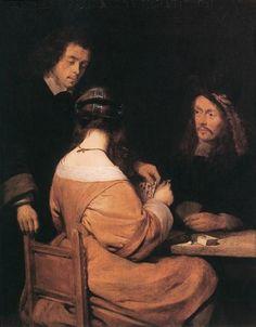 Card-Players 1650 | Oil on panel | Museum Oskar Reinhart am Stadtgarten, Winterthur Borch, Gerard ter.
