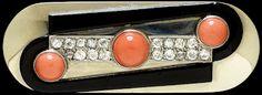 Brooch Paris, France (made) ca. 1930 Raymond Templier, born 1891 - died 1968 (designer) White gold, brilliant-cut diamonds, onyx and coral * Image on Copyright * Bijoux Art Deco, Art Deco Jewelry, Jewellery Box, Jewlery, Antique Jewelry, Vintage Jewelry, Art Nouveau, Art Deco Diamond, Diamond Brooch