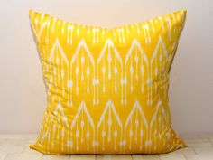 20x20 yellow ikat ikat pillow cover yellow cushion by SilkWay, $24.69