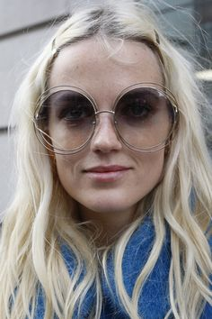 Blocking the UV-rays in style at #LFW #SS15 with these oversized wire-rimmed rounded shades #streetstyle