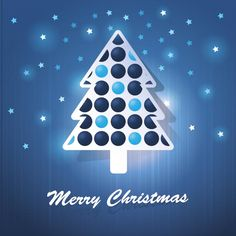 Free vector illustration of bubble Christmas tree with star pattern on blue background merry Christmas typography greeting card and wallpape...