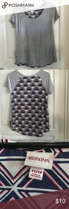 Merona Mixed Media Shirt Size XS Cute shirt that's grey in the front and has a tribal/Aztec print in the back. Scoop neck with raglan sleeves and a hi-low hem. Front is rayon and spandex. Back is polyester. Loose fitting. Only worn 1-2 times. No trades or Paypal. Merona Tops Tees - Short Sleeve
