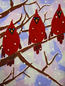 Friday Art Feature Bleeding tissue paper for the background, brown pastel for the branches, and paint for the cardinals. Winter Art Projects, Cool Art Projects, Christmas Art Projects, 4th Grade Art, Art Lessons Elementary, Art Lesson Plans, Art Classroom, Art Plastique, Art Activities