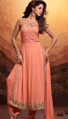 Get your perfect #PartyWearSuits from Efello with our latest collection from casual wear, wedding & party wear dresses online and visit for more information, deals and discount. Unstitch Suit, Readymade is size also available.. http://www.efello.co/Salwar-Kameez_Indian-Traditional-Peach-Georgette-Party-Wear-Dresses,-Dress_37412