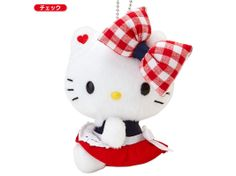 Hello Kitty Plush Doll Mascot Chain Key Ring Gingham Check SANRIO JAPAN