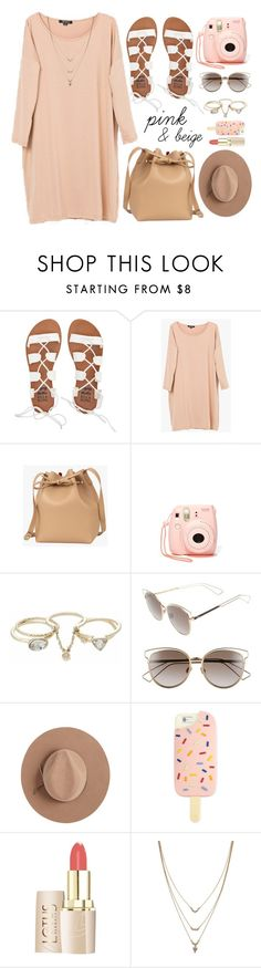 """""""Nudes"""" by genuine-people ❤ liked on Polyvore featuring Billabong, Fujifilm, Lipsy, Christian Dior, Calypso Private Label, Tory Burch, Jessica Simpson, Pink and beige"""